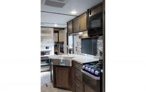 Interior rental RV kitchen