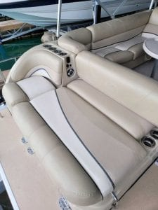 Boat sitting area with cup holders