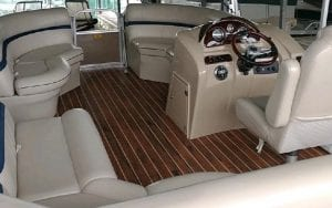 Console and sitting area on boat