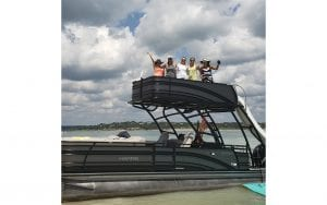 Boat with slide and 5 ladies waving #1