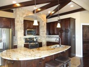 Lakehouse rental granite island kitchen