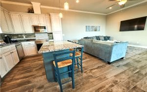 Lakehouse rental kitchen and living room